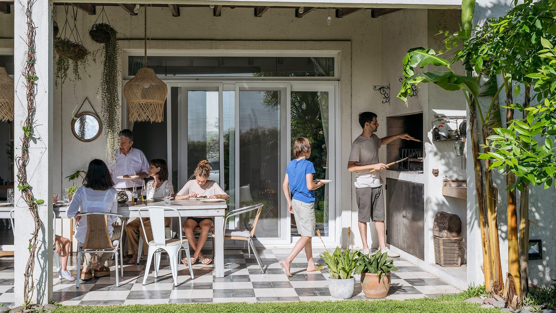 outdoor family making dinner